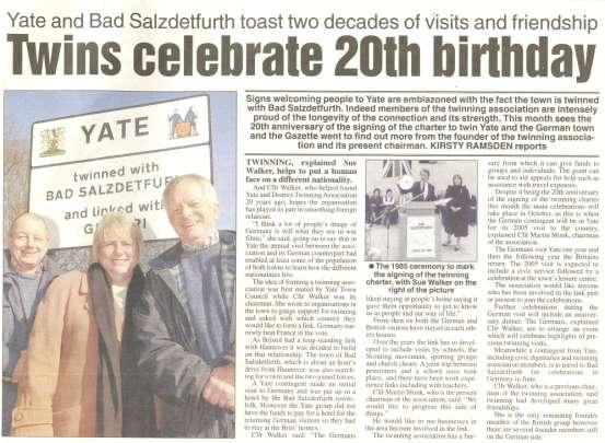 Yate Twinning celebrates 20th Anniversary