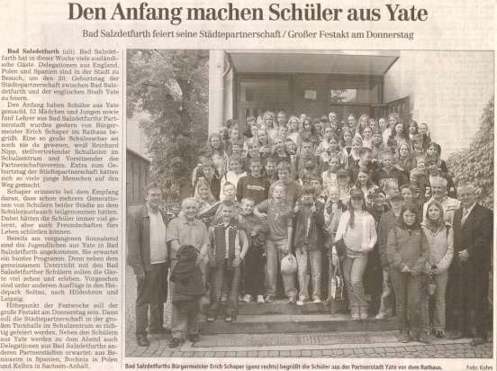 Yate Twinning 2005 Newspaper Article